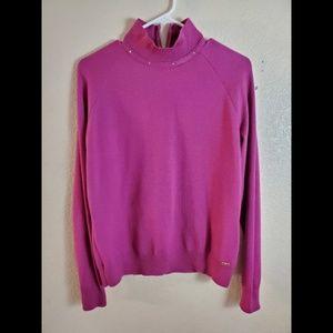 ST JOHN Wool Pink Beaded Cardigan Sweater Medium